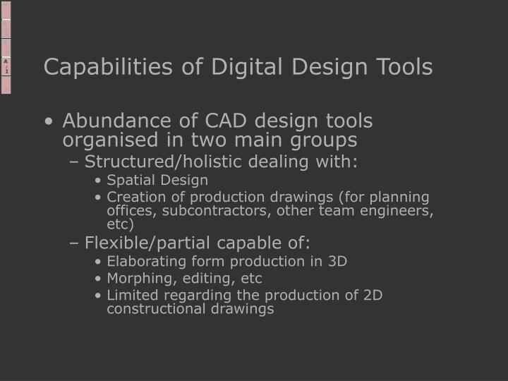 Capabilities of Digital Design Tools