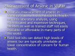 measurement of arsenic in water