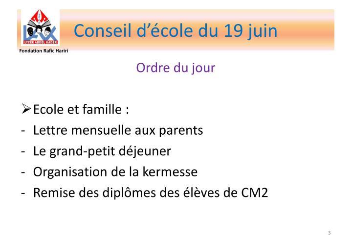 Conseil d'école du 19 juin