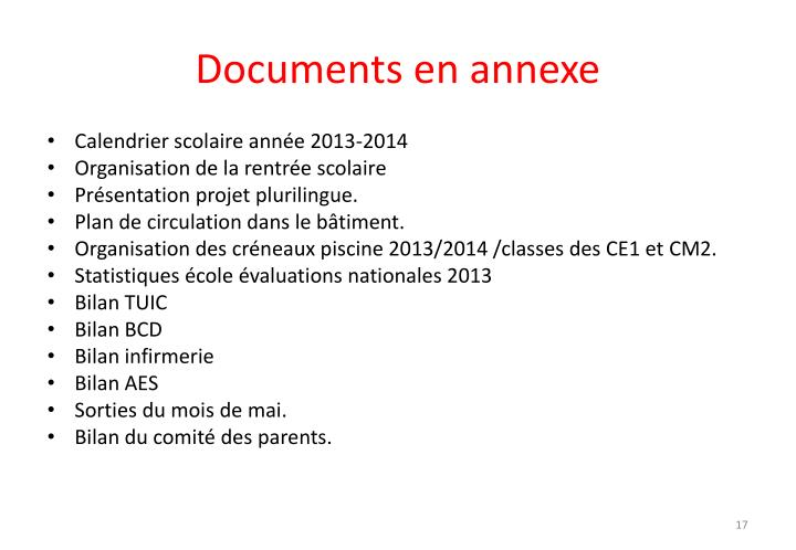 Documents en annexe