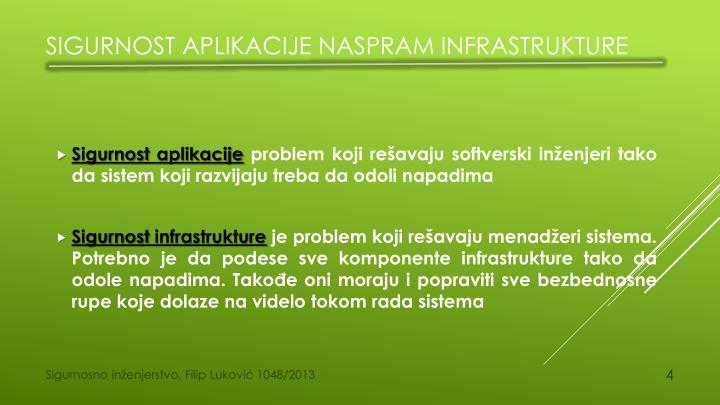 Sigurnost aplikacije naspram infrastrukture