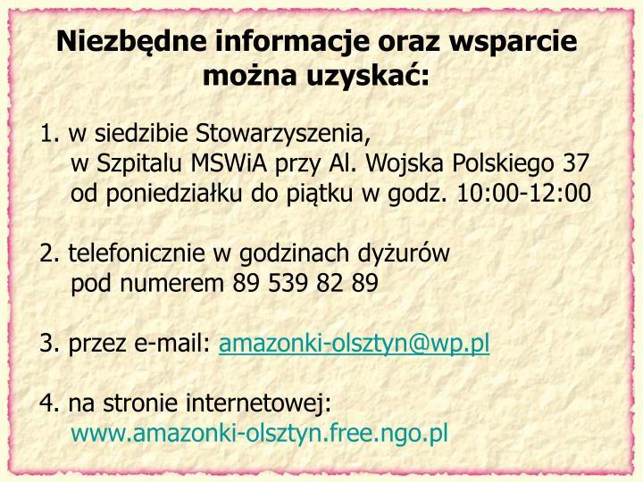 Niezbędne informacje oraz wsparcie
