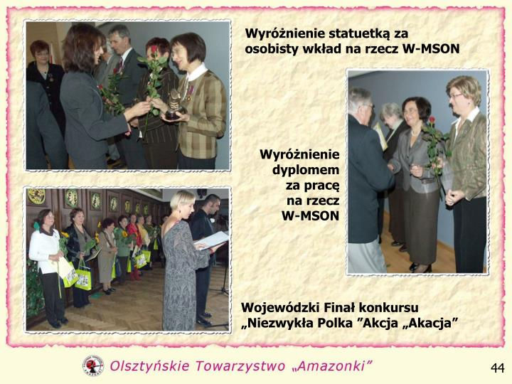 Wyróżnienie statuetką za osobisty wkład na rzecz W-MSON