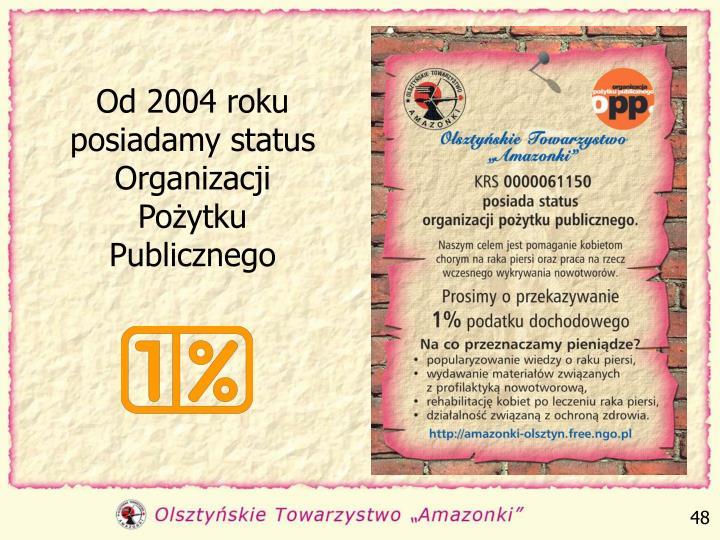 Od 2004 roku posiadamy status Organizacji Pożytku Publicznego