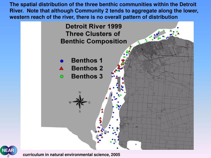 The spatial distribution of the three benthic communities within the Detroit River.  Note that although Community 2 tends to aggregate along the lower, western reach of the river, there is no overall pattern of distribution