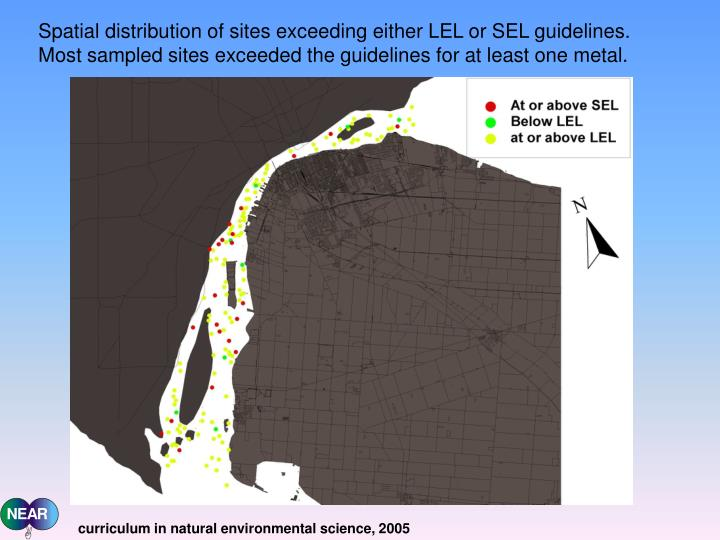 Spatial distribution of sites exceeding either LEL or SEL guidelines. Most sampled sites exceeded the guidelines for at least one metal.