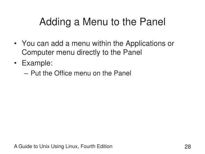 Adding a Menu to the Panel
