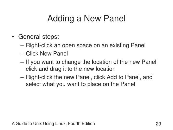 Adding a New Panel
