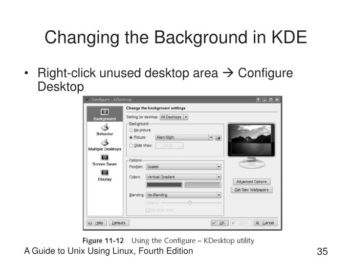 Changing the Background in KDE