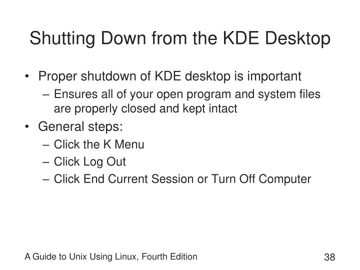 Shutting Down from the KDE Desktop