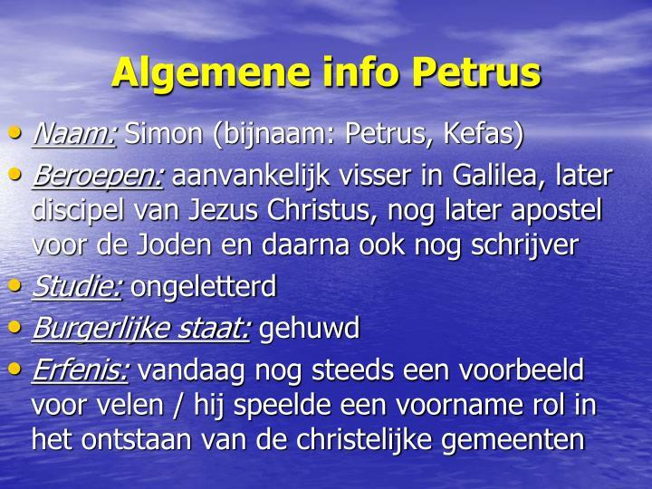 Algemene info Petrus