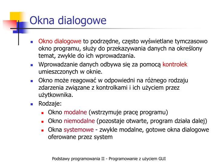 Okna dialogowe