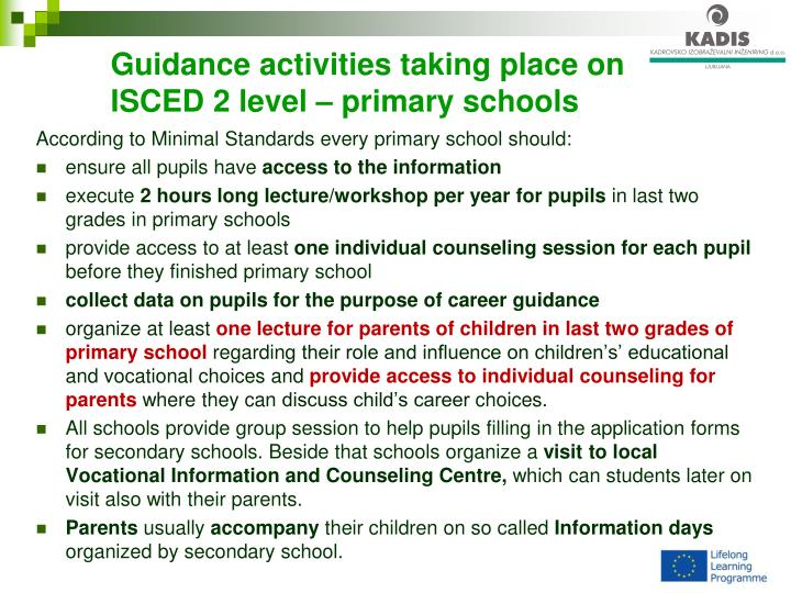 Guidance activities taking place on