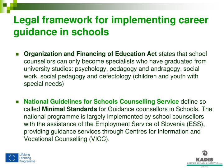 Legal framework for implementing career guidance in schools