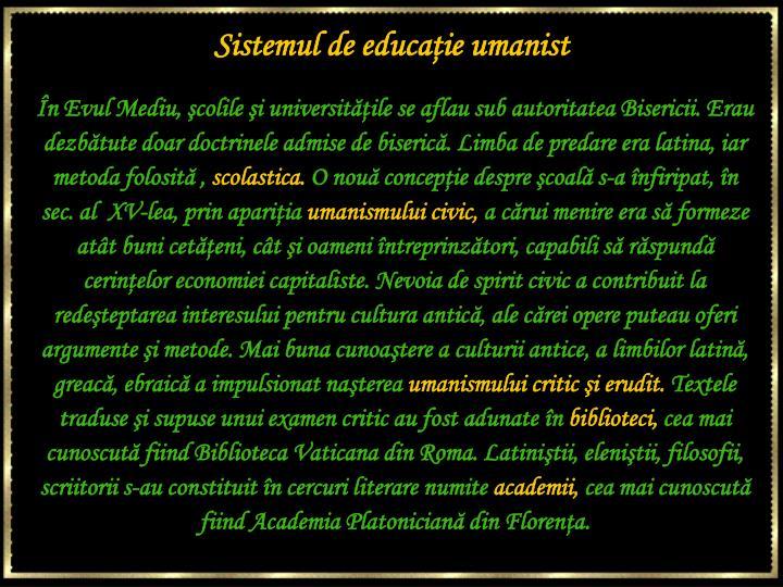 Sistemul de educaţie umanist