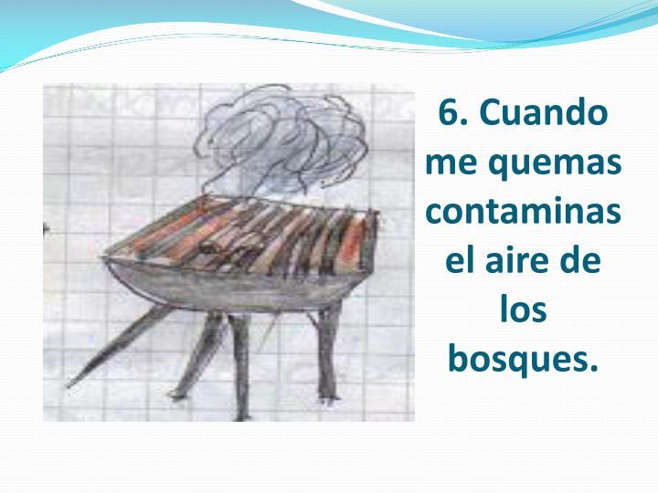 6. Cuando me quemas contaminas el aire de los bosques.