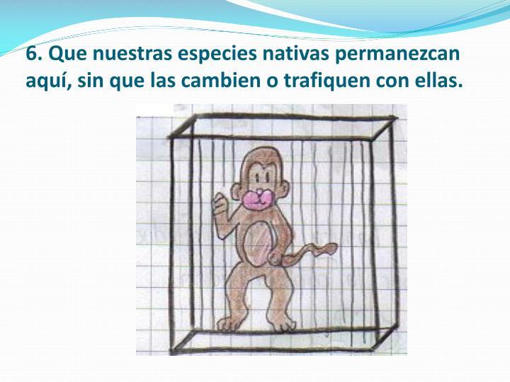 6. Que nuestras especies nativas permanezcan aquí, sin que las cambien o trafiquen con ellas.