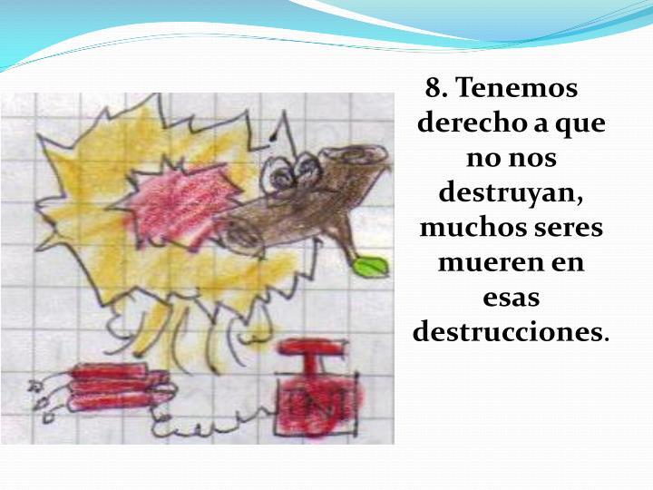 8. Tenemos derecho a que no nos destruyan, muchos seres mueren en esas destrucciones