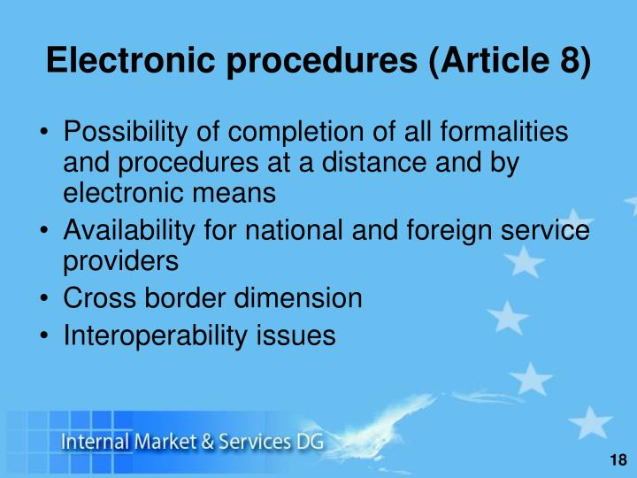Electronic procedures (Article 8)