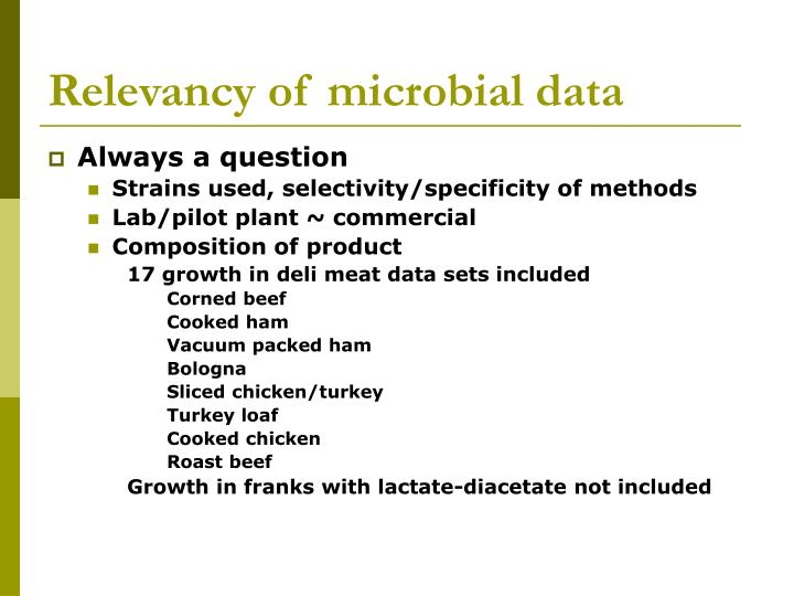 Relevancy of microbial data