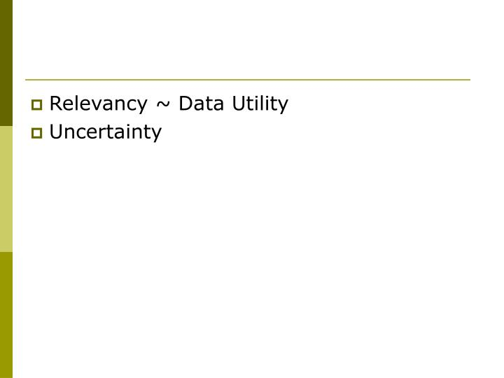 Relevancy ~ Data Utility