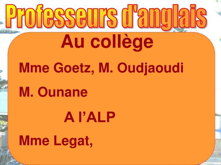 Professeurs d'anglais