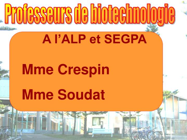 Professeurs de biotechnologie