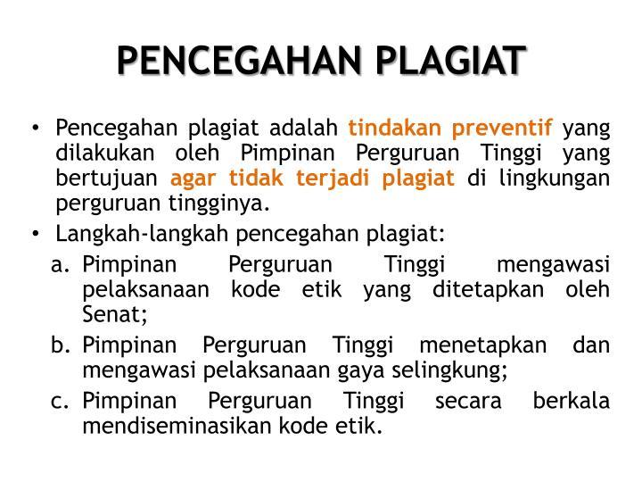PENCEGAHAN PLAGIAT