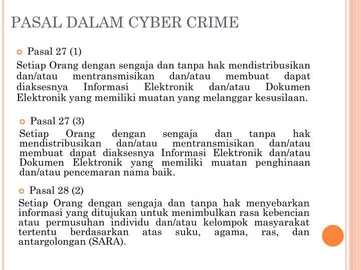 PASAL DALAM CYBER CRIME