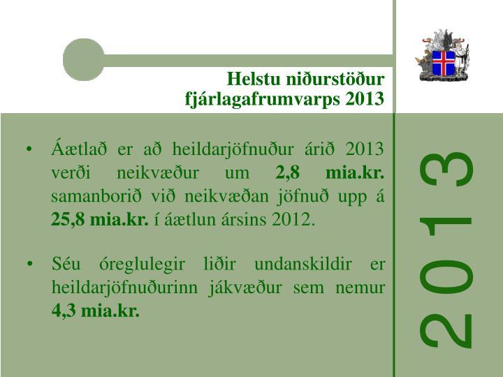 Helstu niðurstöður fjárlagafrumvarps 2013