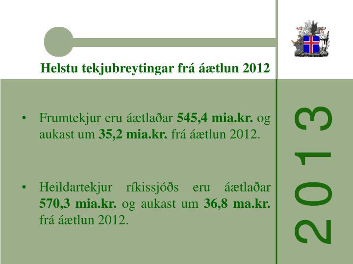 Helstu tekjubreytingar frá áætlun 2012