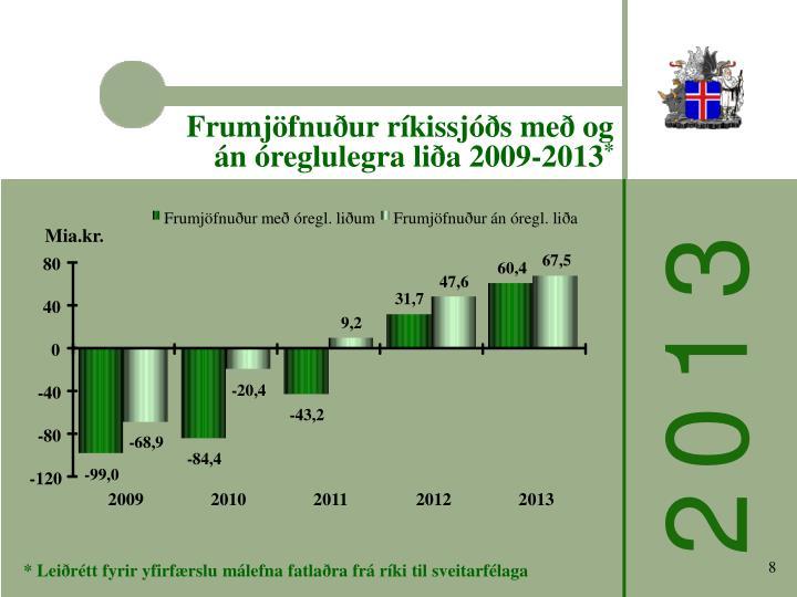 Frumjöfnuður ríkissjóðs með og án óreglulegra liða 2009-2013