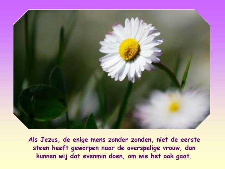 Als Jezus, de enige mens zonder zonden, niet de eerste steen heeft geworpen naar de overspelige vrouw, dan kunnen wij dat evenmin doen, om wie het ook gaat.