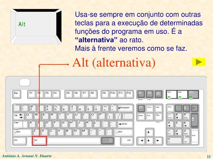 Usa-se sempre em conjunto com outras teclas para a execução de determinadas funções do programa em uso. É a