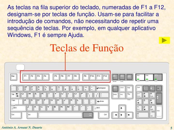 As teclas na fila superior do teclado, numeradas de F1 a F12,