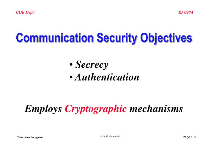 Communication Security Objectives