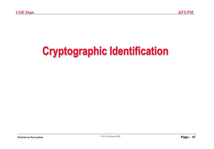 Cryptographic Identification