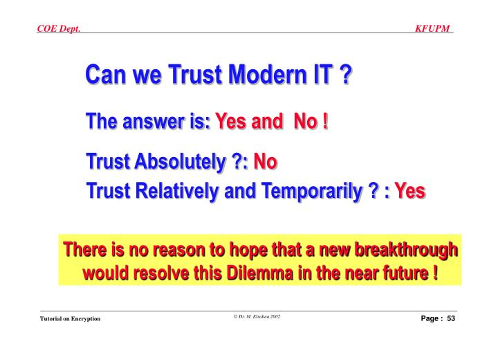 Can we Trust Modern IT ?