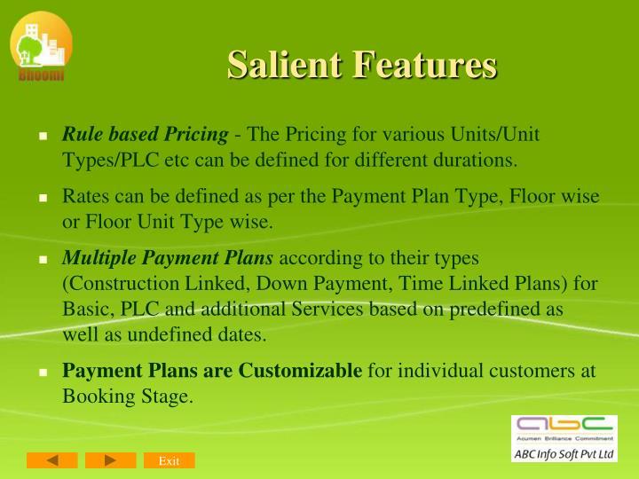 Salient Features