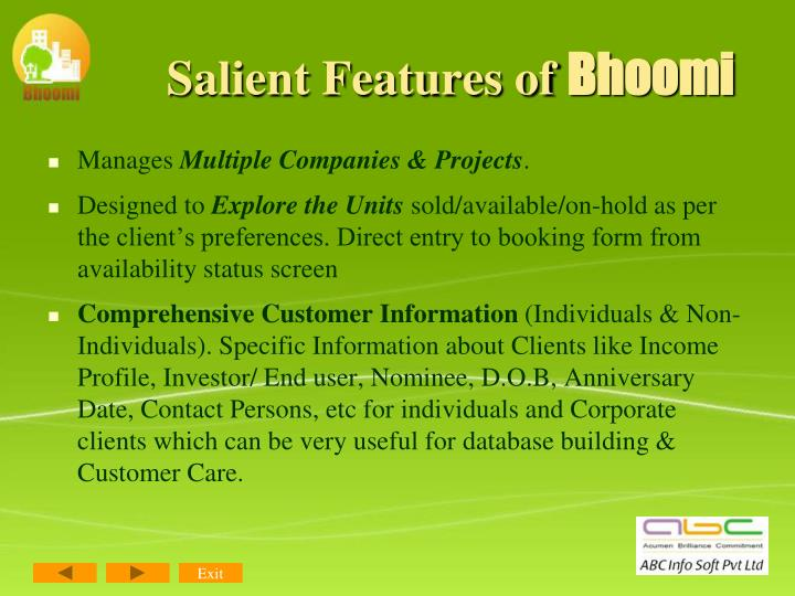 Salient Features of