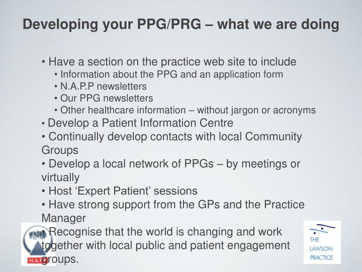 Developing your PPG/PRG – what we are doing