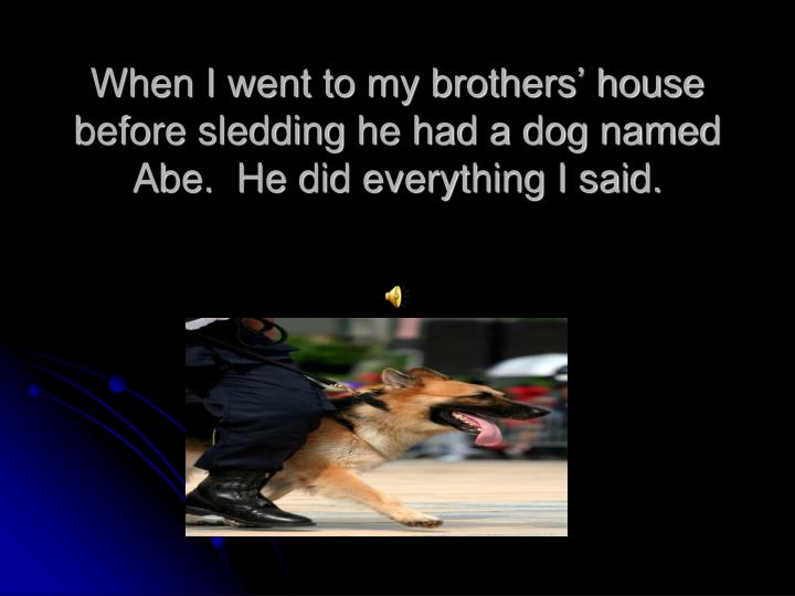 When i went to my brothers house before sledding he had a dog named abe he did everything i said