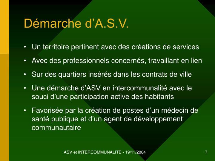 Démarche d'A.S.V.