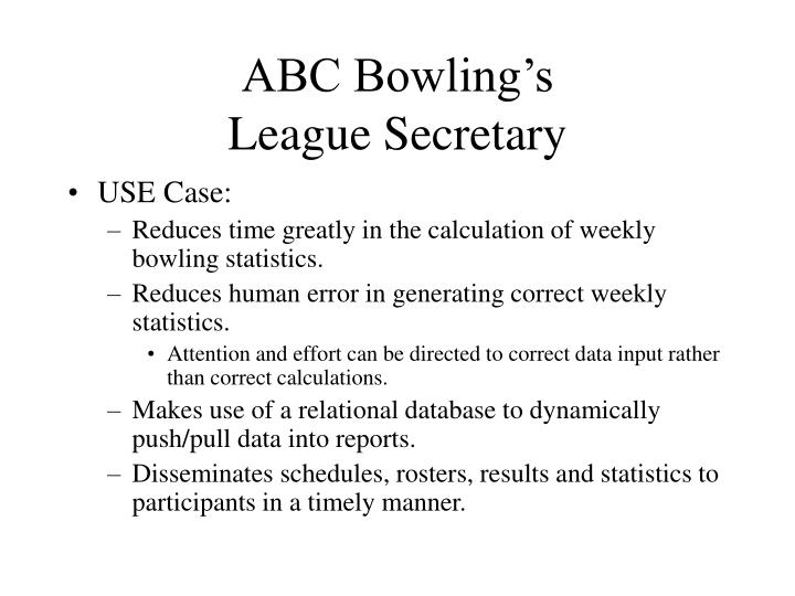 Abc bowling s league secretary