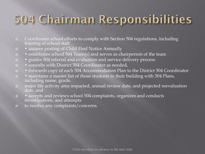 504 Chairman Responsibilities