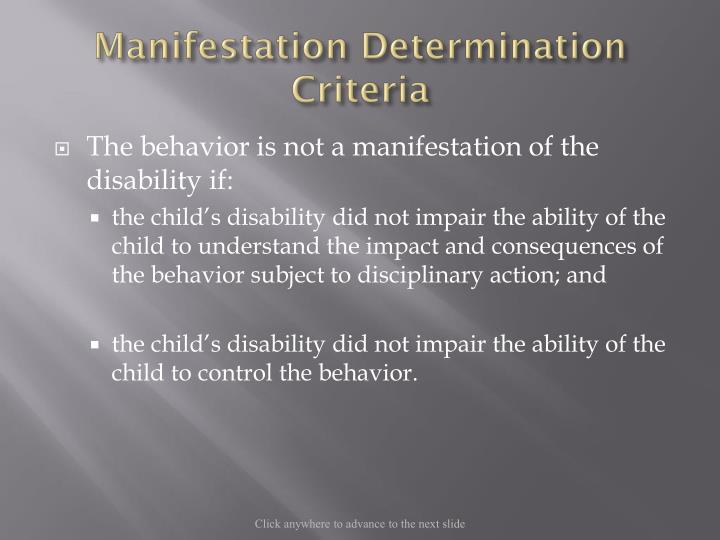 Manifestation Determination Criteria