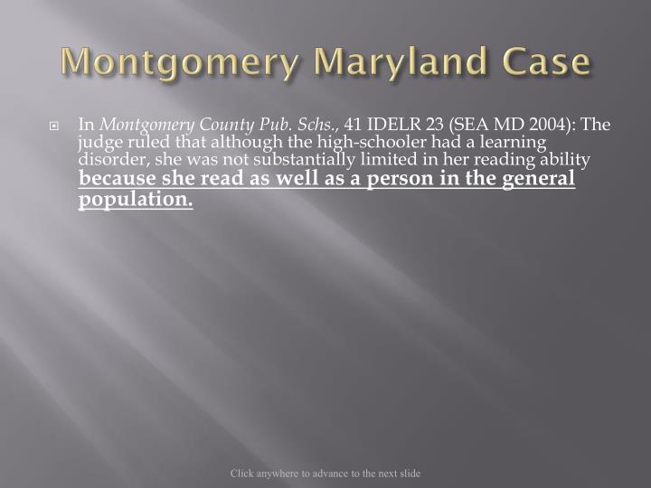 Montgomery Maryland Case