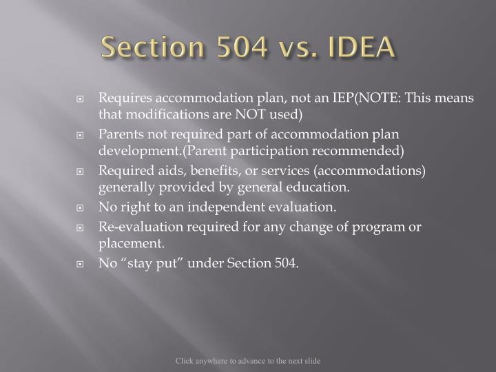 Section 504 vs. IDEA