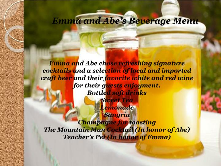 Emma and Abes Beverage Menu