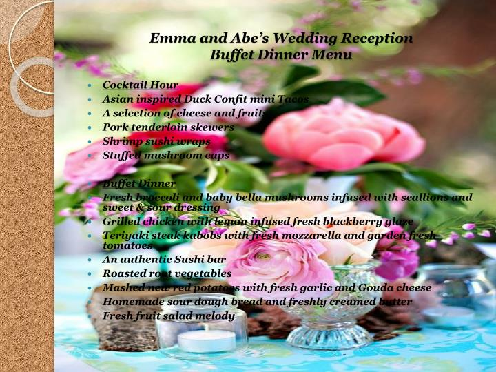 Emma and Abes Wedding Reception